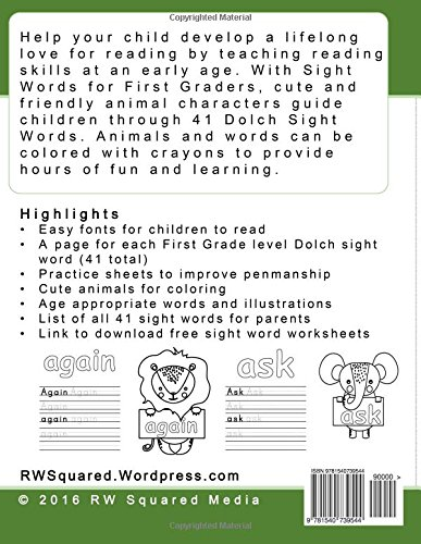 Workbook free phonics worksheets : Amazon.com: Sight Words for First Graders - Coloring Book and ...