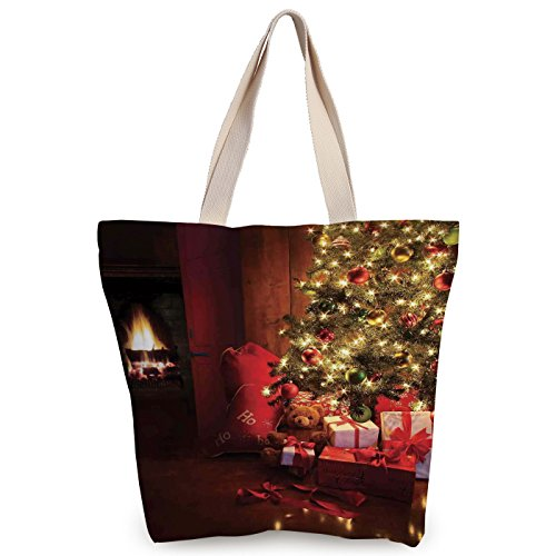 iPrint Personalized Canvas Tote Bag,Christmas,Xmas Scene with Decorated Luminous Tree and Gifts by the Fireplace Artful Image,Red Yellow,Canvas Shopping bag,shoulder handbags,Shoulder Bag by iPrint