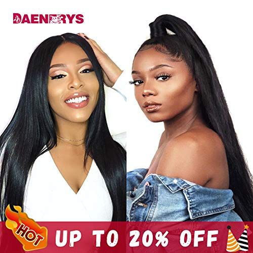 Silky Straight Lace Wig - 360 Lace Front Human Hair Wigs 360 Lace Frontal Wig with Pre Plucked Baby Hair Straight Human Hair Wig 150% Density (Straight 24inch)