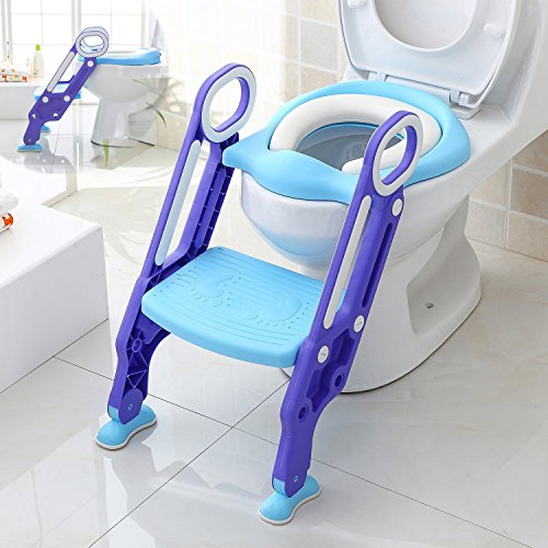Padded Seat Trainer - Makone Potty Trainer Seat Adjustable Baby Potty Toilet Ladder Seat with Step Stool Ladder for Todderls Baby