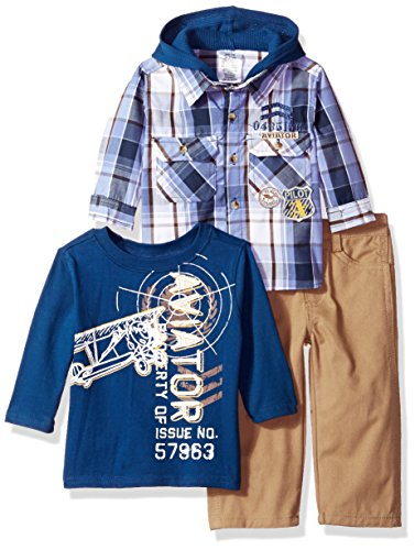 Little Rebels Baby Boys' 3 Piece Aviation Shirt Hood And Pant Set, Blue, 18 Months