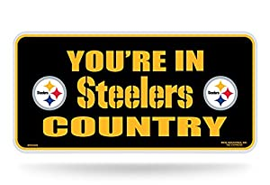 """NFL Pittsburgh Steelers """"Steelers country"""" Metal Auto Tag, Black at Steeler Mania"""