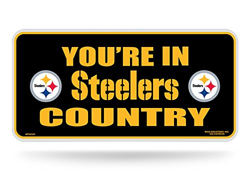 "NFL Pittsburgh Steelers ""Steelers country"" Metal Auto Tag, Black at Steeler Mania"