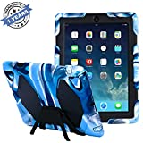 Travellor iPad 2/3/4 Case Silicone Kidproof Rainproof Sandproof Dust-proof Shockproof Extreme Duty Dual Protective Back Cover with Kickstand and Sticker for iPad 4/3/2 (Navy/Black)