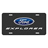 iPick Image Ford Explorer Black Carbon Fiber Texture Graphic UV Metal License Plate, Made in USA