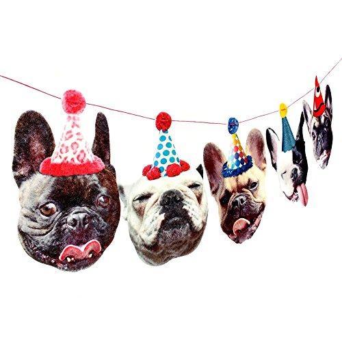 Bulldog Birthday (French Bulldog Birthday Party Decoration Garland Banner - frenchie dogs in birthday hats)