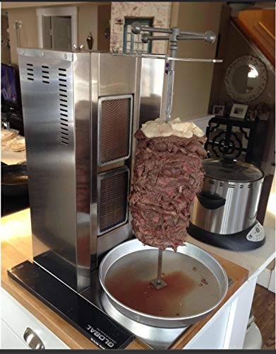 The Best Full Set Meat Capacity 25 kg /55 lbs. 2 Burner Propane Gas Rotating Spinning Vertical Broiler Shawarma Gyro Doner Grill Kebab Tacos Al Pastor Machine Commercial Industrial or for Home use ()