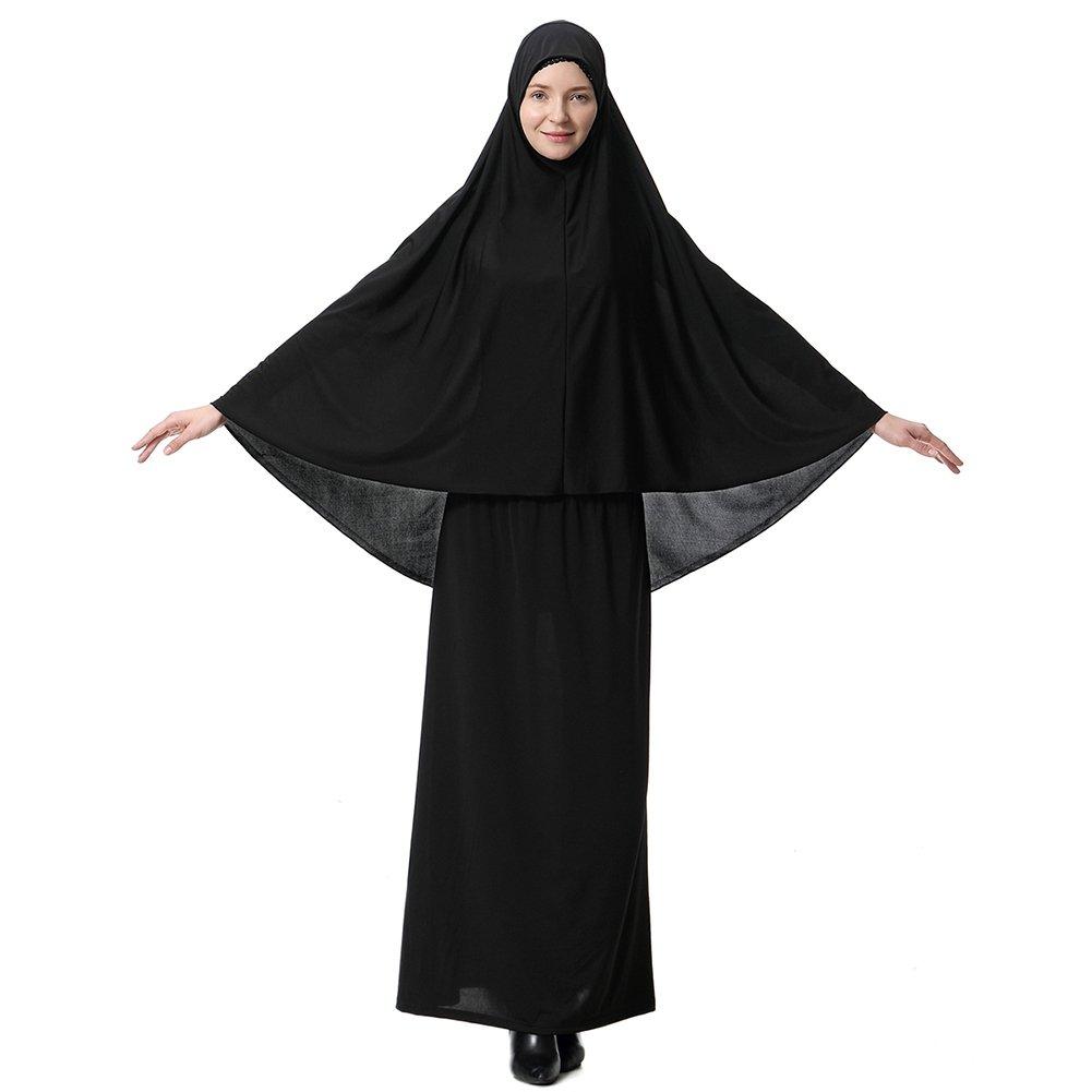 Zhengpin Muslim Dresses for Women Large Overhead Hijab Abaya Prayer Dress Robe
