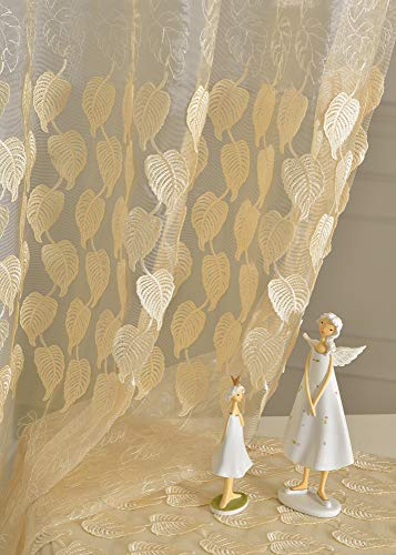 Lace Sheer Curtain Leaf Pattern Rod Pocket Embroidered Window Voile Panel for Living Room Kichen Home Decoration (1 Panel, W 52 x L 63 inch, Beige)
