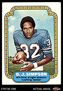 1974 Topps # 1 Record Breaker O.J. Simpson Buffalo Bills (Football Card) Dean's Cards 5 - EX Bills