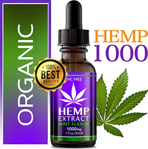 Organic Hemp Oil 1000 mg. Anxiety Reducer. Pain Relief. Weight Management .Natural Sleep Aid. This Hemp Extract Helps Improve Nerve Health & Helps Regulate Metabolism. with Natural Mint Flavor.