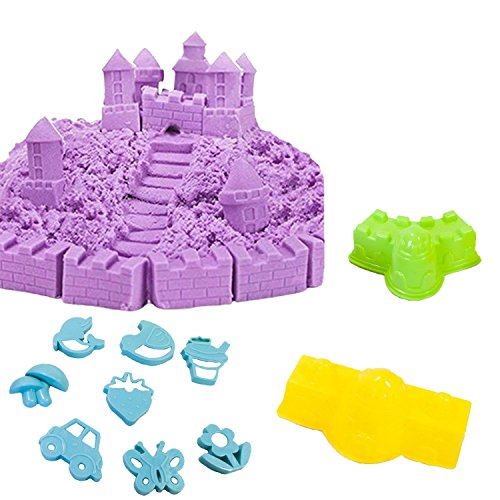 Elk & Bear Play Modeling Sand Including 2.2 Lbs of Sand, 9 Assorted Molds, Castle Non Toxic Eco Friendly Sand Kit. Best Educational Gift for Boys & Girls. Promote Creativity Arts and Crafts