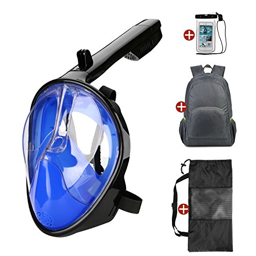 Odoland 4-in-1 Snorkeling Packages, Full Face Snorkel Mask with Lightweight Backpack and Waterproof Case for Adults and Youth - GoPro Compatible