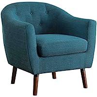 Homelegance Lucille Fabric Upholstered Pub Barrel Chair, Blue