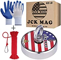 JCK MAG Magnet Fishing Kit 625 LB Pulling Magnet with Gloves, Nylon 65ft Rope and Carabiner - Thread Locker Installed,...