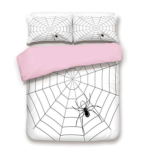 Pink Duvet Cover Set,FULL Size,Toxic Poisonous Insect Thread