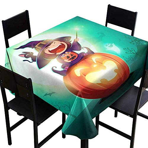Warm Family Dustproof Tablecloth Halloween Little Witch Girl Kid in Halloween Costume Sits on a Giant Pumpkin Magic Wand and Candies on Hand Great for Buffet Table W70 x L70]()