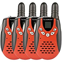 Floureon Twin Walkie Talkies Toy 22 Channel FRS/GMRS UHF462-467MHz 2-Way Radio 3KM Range Interphone for Kids Children Outdoor Camping Hiking (4 Packs, Black/Red)