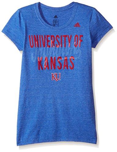 Kansas Jayhawks Adidas Basketball - adidas NCAA Kansas Jayhawks Script Tail Overlay Cap Sleeve Tee, Large, Blue Heather