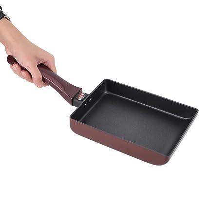 Sartén de Aluminio Antiadherente sin Humo,Cuadrado Utensilios de Cocina de Panqueque de Cocina Olla de 7.3 * 5.3 * 1.2 Pulgadas, negro: Amazon.es: Hogar