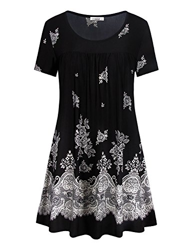 Short Sleeve Tunic,Flared A Line Stylish Floral Printed Scoop Neck Vintage Paisley Style Womens Work Blouse Dressy Shirts Black - Blouse Vintage Paisley