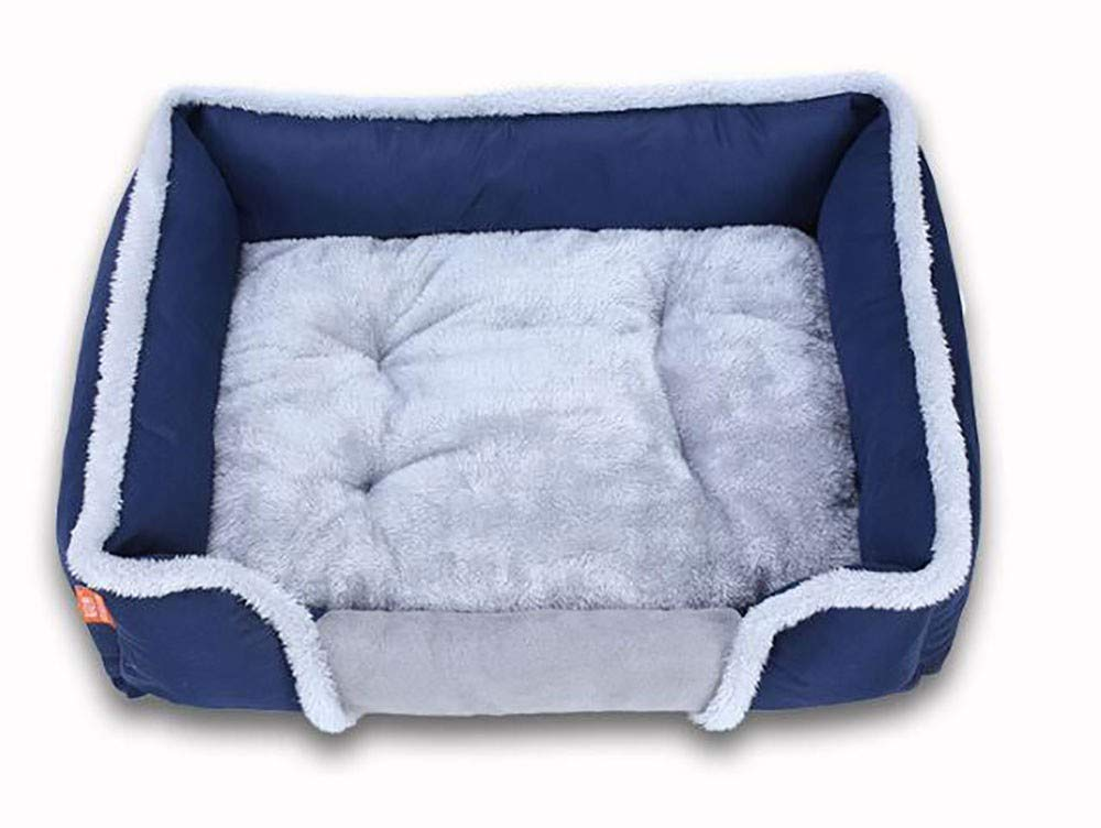 bluee Large bluee Large Dog Bed Dog mat Cushion House pet nest Pet Supplies Warm lint Removable Detachable for Cats Dogs