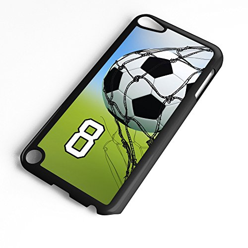 (iPod Touch Case Fits 6th Generation or 5th Generation Soccer Ball #0500 Choose Any Player Jersey Number 8 in Black Plastic Customizable by TYD Designs)