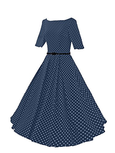 HongyuTing Women Vintage 1950s Rockabilly 3/4 Sleeves Swing Party Dress-Dot DarkBlue-L