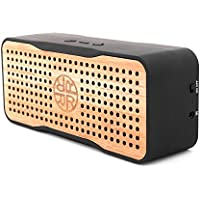 Solar Speaker, Portable Wireless Bluetooth Bamboo Wood Speaker & Phone Charger by REVEAL - Eco-friendly Bamboo Wooden Design - 8+ Hour Battery Life - One Year Warranty