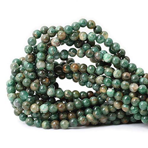Qiwan 60PCS 6mm Natural African jade Round Loose stone Beads for Bracelet Necklace Earrings Jewelry Making Crafts Design Healing 1 Strand - Round Bracelet Beads Jade