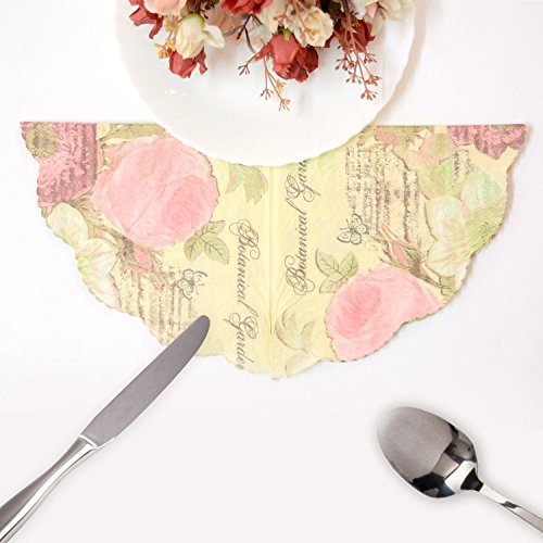nestroots Printed Tissue Paper, Dining Table Napkin (6 inch, Yellow)