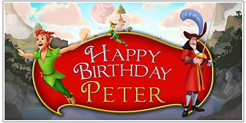 (Peter Pan Birthday Banner Personalized Party Decoration Backdrop)