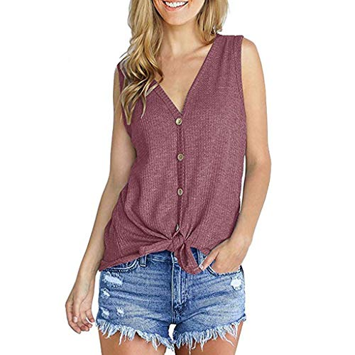 vermers Womens Waffle Knit Tunic Blouse Tie Knot Henley Tops Loose V-Neck Button Fitting Batwing Plain Shirts(S, Z-zaPink-Sleeveless)