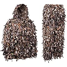 North Mountain Gear 3D Camo Hunting Ghillie Suit Lightweight Woodland Brown Camouflage - Knee Length Leg Zippers For Easy On and Off - Twice The Leafs Of A Standard Leafy Suit