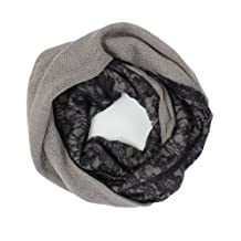 AN-Winter Black Floral Lace Two Tones Infinity Circle Scarf