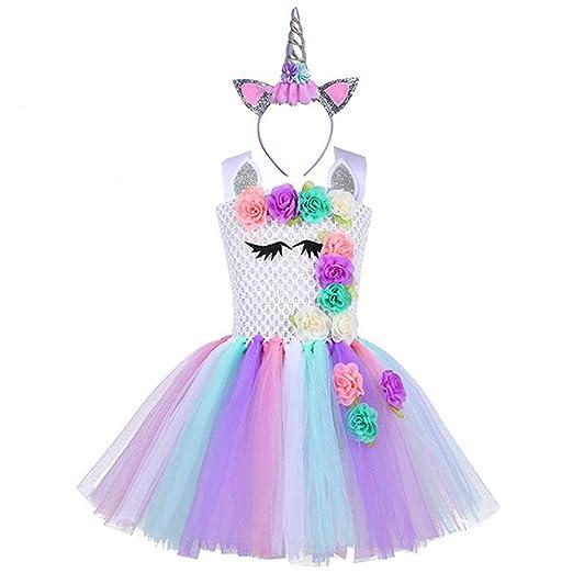 6206c41babaf0 Handmade Flower Girls Unicorn Tutu Dress with Headband for Kids Birthday  Princess Party Costume Carnival Clothes