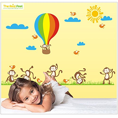 Peel Monkeys (The Real Peel Premium Removable Wall Stickers for Kids Rooms, Nursery, Baby, Boys & Girls Bedroom - Peel & Stick, Large Removable Vinyl Wall Decal Stickers (Air Balloon & Monkeys))