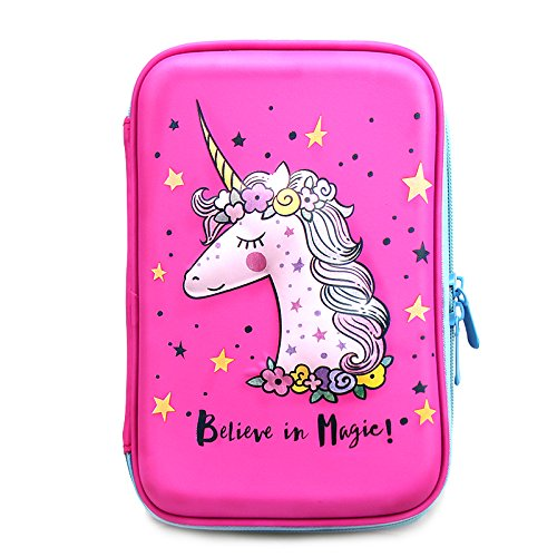 JOJOOKIDS Unicorn Pencil Case  For Girls | Cute Preschool, Kindergarten, and Elementary Toddler Pen Holder With Compartments | Pink School Zipper Pouch