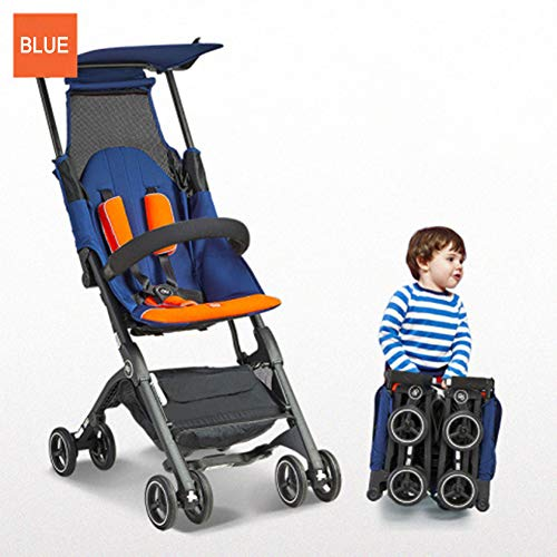 GXGX Foldable Lightweight pram Baby Stroller – for Flight Boarding Outdoor and Travel – Can be Put in The Suitcase – 6 to 36 Months Age – Makes it Easy for You to Travel,Blue