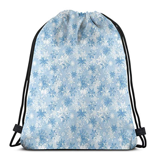 2019 Funny Printed Drawstring Backpacks Bags,Winter Holiday Illustration Christmas Snowflakes On Abstract Background,Adjustable String Closure