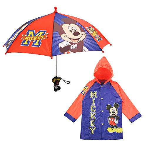 Disney Boys' Little Mickey Mouse Slicker and Umbrella Rainwear Set, Dark Blue Age 4-5