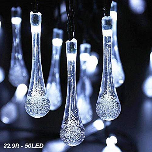 DEMTER Solar String Lights, 22.9ft 50 Advanced Waterproof Water Drop Mode LED Solar Fairy Lights, Outdoor Saint Valentine's Day Lights for Patio, Lawn, Home, Garden, Wedding, Party Decorations