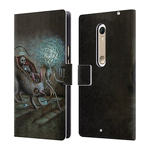 Official Jason Limon No Mans Land Skull Leather Book Wallet Case Cover For Motorola Moto X Style / Pure