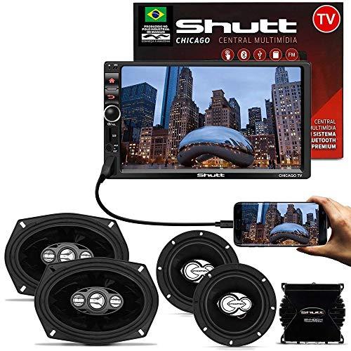 Kit Central Multimídia Shutt Chicago TV 7 Pol Bluetooth Tv Digital USB + Kit Fácil Champion + Módulo