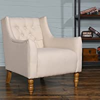 Zenith-Monet Classic Imitation Linen Fabric Accent Chair Tufted Design Chair Single Sofa Club Chair Armchair (30 x 31 x 32, Cream)