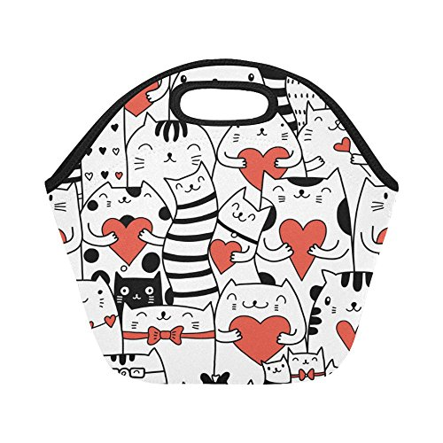InterestPrint Insulated Lunch Tote Bag Cat with Red Heart Reusable Neoprene Cooler, Funny Kittens Love Portable Lunchbox Handbag for Men Women Adult Kids Boys Girls - Heart Tote Bag