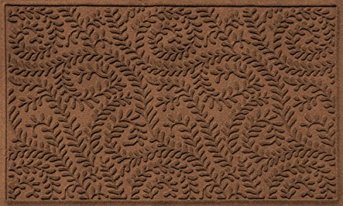 Bungalow Flooring Waterhog Indoor/Outdoor Doormat, 3' x 5', Skid Resistant, Easy to Clean, Catches Water and Debris, Boxwood Collection, Dark Brown
