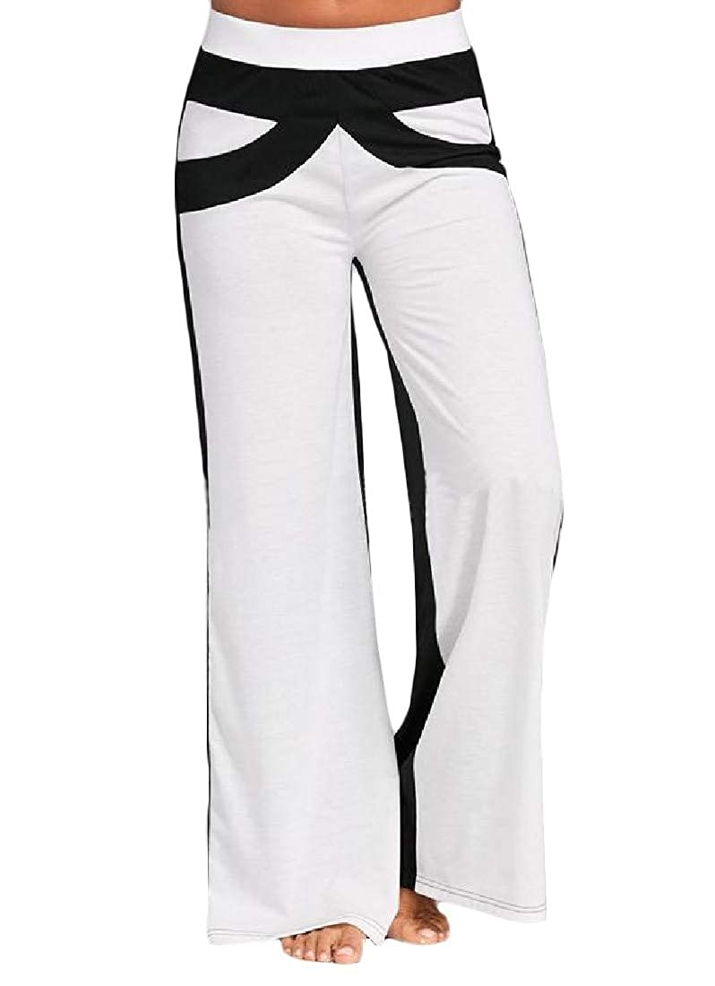 pipigo Women Sport Stretch Casual Color Block Trousers Wide Leg Pants