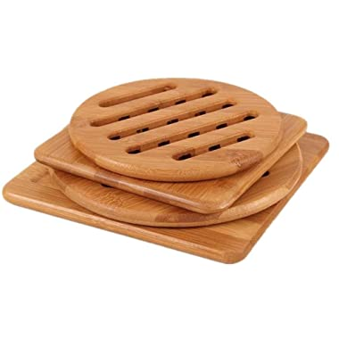 Bamboo Trivet, Weikai Home Kitchen Bamboo Hot Pads Trivet, Heat Resistant Pads Teapot Trivet, Square and Round (Multi-size, Pack of 4)