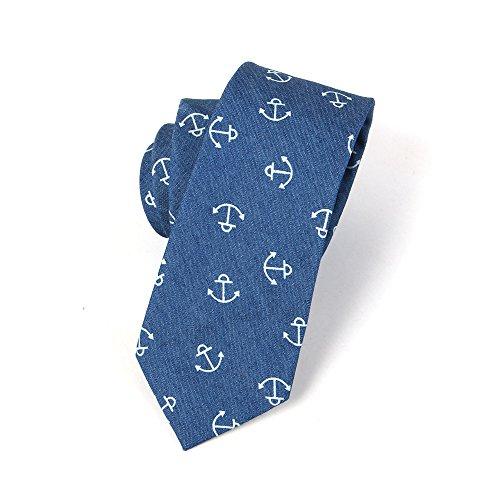 Anchor 100 Neckties JOOWEN Cotton 6 Men's Blue Dark Ties 5CM Casual Printed Denim Skinny pBPUqS
